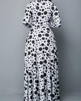 Zipper Back Long Sleeve Dot Print Dress