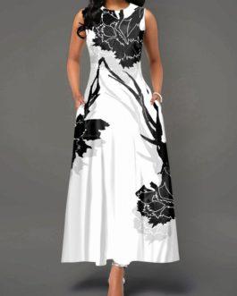 Zipper Back Sleeveless Flower Print Dress