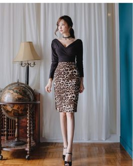 sexy v neck blouse + high waist leopard skirts suit bandage