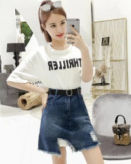 women 2 piece set letter print loose T-shirt hole irregular denim skirt twinset