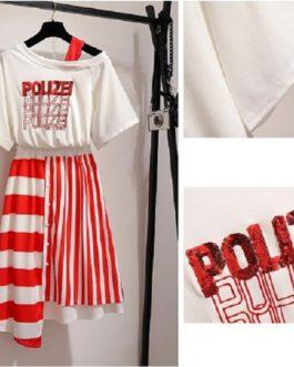 women 2 piece set sequins letter tops irregular striped skirt suit tshirt skirt set