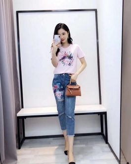 women beading flower Tshirts jeans Pants casual clothing 2 piece set