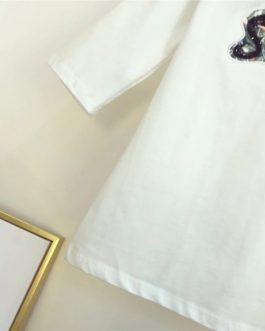 women set sequined letter Tshirt tops vitnage print chiffon wide leg pants suit