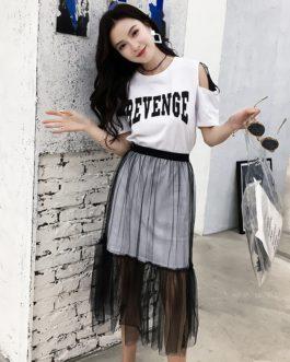 women sets off the shoulder letter cartoon T-shirt see through mesh skirt with belt