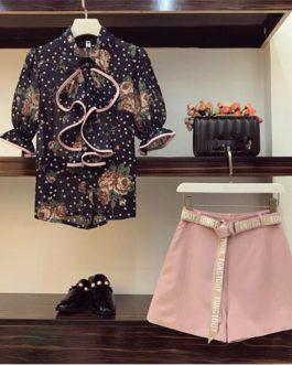 women's set ruffles dot print chiffon shirt blouse wide leg shorts leisure suit