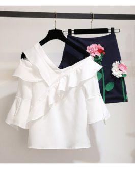 women's sets sexy one shoulder white ruffles chiffon tops flower embroidery mini skirt