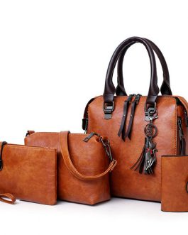 4 PCS Women Faux Leather Handbags Vintage Multi-function Crossbody Bags