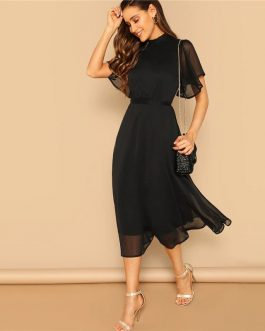 A Line Butterfly Sleeve Stand Collar Elegant Dresses