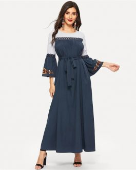 Abaya Navy Floral Flare Sleeve Lace Applique Belted Maxi Dress