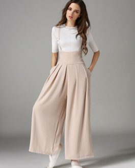 Apricot Long Pants Pleated Wide Leg Women's Pants