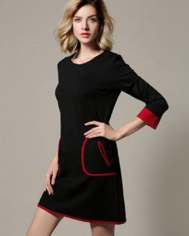 Attractive Scoop Neck Color Block Pockets Shift Dress