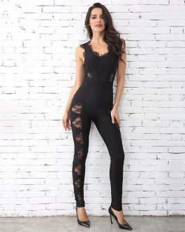 Bandage Lace O Neck Celebrity Party Long Jumpsuits