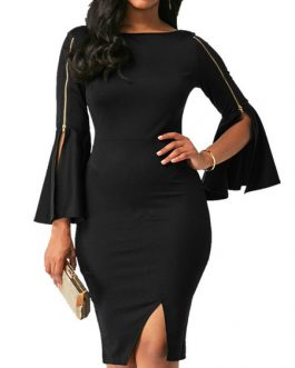 Bateau Neckline Zipper Split Sexy Bell Sleeves Mini Dress