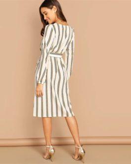 Beige Boat Neck Half Sleeve Waist Knot Striped Short Dress