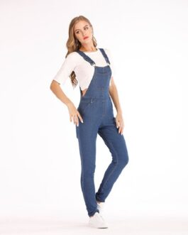 Bib Full Length Overall Solid Loose Causal Jumpsuit