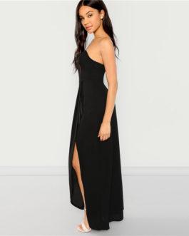 Black Bandeau Off Shoulder Split Solid Dress Party Sexy Slim Maxi Dresses