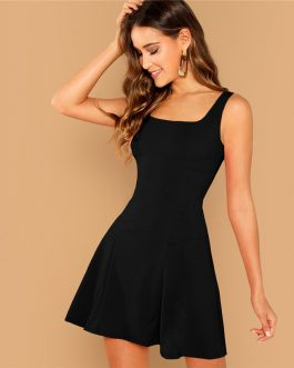 Black Fit And Flare Solid Dress Elegant Straps Sleeveless Plain A Line Dresses