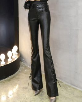Black Flared Pants Lace Up Long Leather Pants For Women