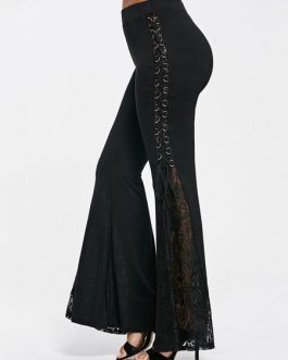 Black Flared Pants Lace Up Bell Bottom Trousers