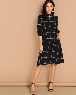 Black Frilled Neck Plaid Print Women Casual Midi Dress