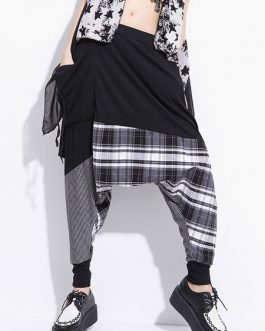 Black Harem Pants Plaid Hip Hop Harem Pants For Women