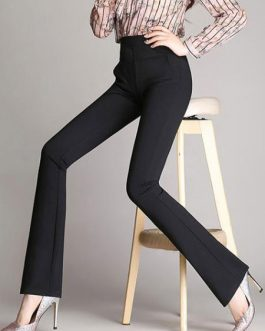 Black Long Pants Women's Elastic Waist Flared Pants