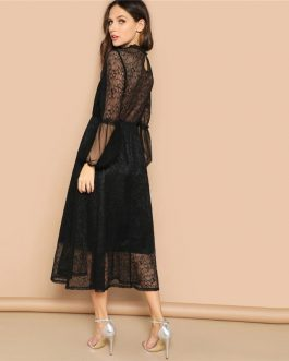 Black Scallop Mock Neck Sheer Balloon Sleeve Lace Dress