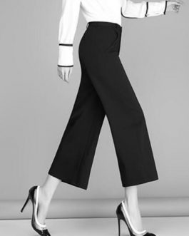 Black Wide Leg Cropped Pants Trousers For Women