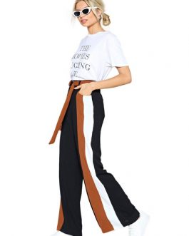 Black Wide Leg Trousers Women Striped Sash Pants
