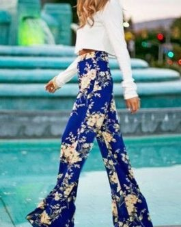 Blue Acetate Pants With Floral Print for Women