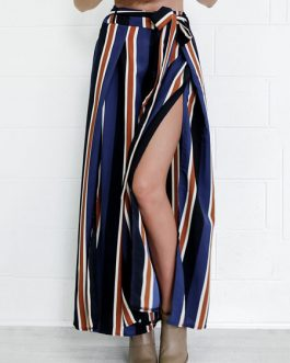 Blue Wide Leg Pants Women's High Waist Drawstring Split Casual Pants