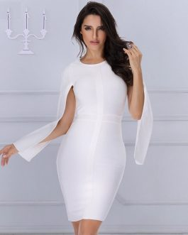 Bandage Sexy O-Neck Batwing Sleeve Celebrity Bodycon Party Dress