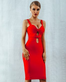 Hollow Out Spaghetti Strap Celebrity Bodycon Bandage Dress