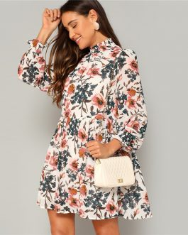 Bohemian Multicolor Frilled Neck and Cuff Floral Print Smock Flared Dress