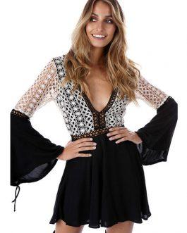 Boho Bell Sleeve Lace Patchwork Mini Dress