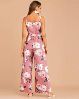 Boho Floral Print Zip Back Belted Jumpsuit