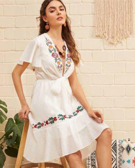 Boho Flower Embroidered Flounce Deep V Neck Sexy Elegant Dress