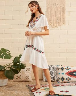 Boho Flower Embroidered Flounce Deep V Neck Sexy Elegant Dress