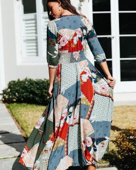 Boho Maxi V Neck Buttons Printed Dress