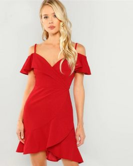 Boho Red Cold Shoulder Surplice Wrap Ruffle Hem Slim Midi Dress