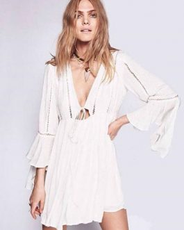 Boho Shift Sleeved V Neck Short Tunic Dress