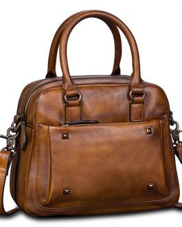 Brenice Women Genuine Leather Vintage Boston Bag Handbag Crossbody Bag