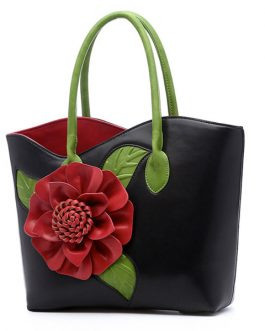 Brenice Women National Style Flower Decoration Handbag PU Leather Sling Bag