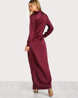 Burgundy Sexy Party Dress Satin Front Twist Wrap Dress