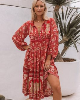Buttons Long Sleeves Printed Oversized Maxi Dress