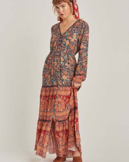 Buttons V Neck Long Sleeves Printed Maxi Dress