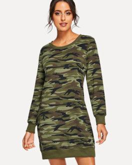 Camo Shift Round Neck Cotton Blend Sweat shirt Dress