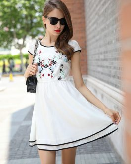 Chiffon Embroidered Flare Dress for Women