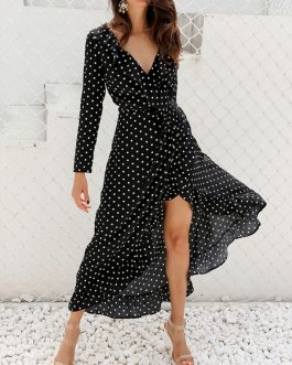Polka Dot Long Sleeves Split Floor Length Dress