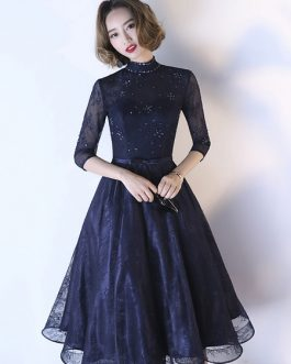 Cocktail High Collar Sash Lace Applique Beaded wedding guest dress